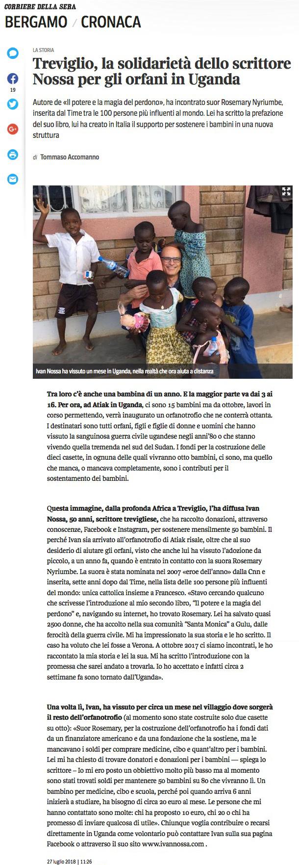 corriere-bergamo-ivan-nossa-orfanotrofio-atiak-uganda-suor-rosemary